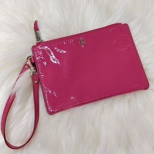 Cole Haan Patent Leather Wristlet Pouch Bag Pink
